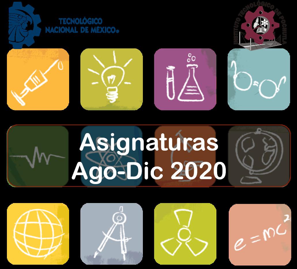 Listado de materias ofertadas y programa de estudios por carrera para el periodo  Agosto-Diciembre 2020