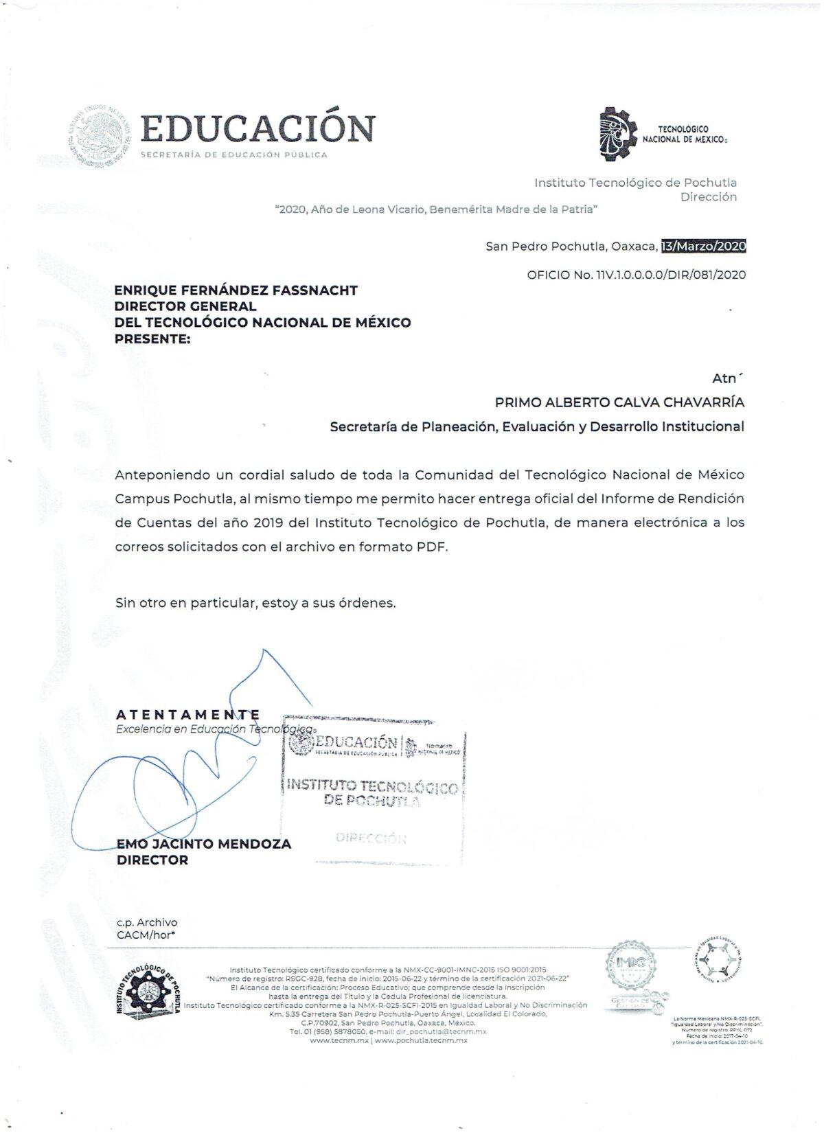 OFICIO DE ENTREGA DE IRC 2019
